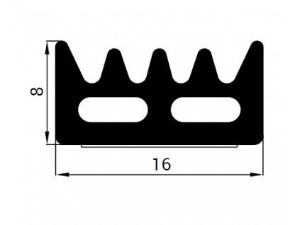 Samolepící těsnění KR 16x8 mm černá 50 m  K kronlist 16 x 8 černá 50 m
