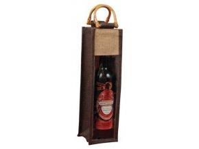 Jutová taška na 1 láhev - hnědá J0003