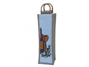 Jutová taška na 1 láhev s obrázkem J0007