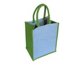 Jutová taška na 6 láhví, zelená J0010
