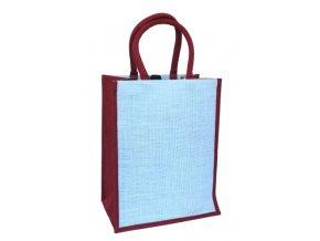 Jutová taška na 6 láhví, červená J0011