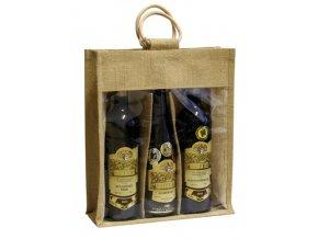 Jutová taška na 3 láhve J0013