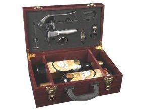Dárkový box na 2 vína mahagon-deluxe otvírák Z0001