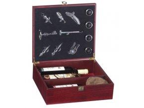 Dárkový box na 3 vína mahagon - šachy Z0004