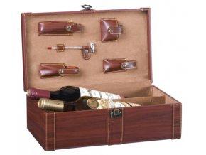 Dárkový box na 2 vína s přísluš., umělá kůže Z0012