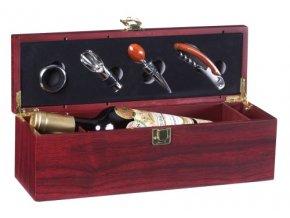 Dárkový box na 1 víno mahagon - 4 pomůcky Z0035