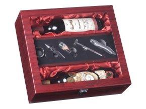 Dárkový box na 2 vína mahagon proskl. Z0037