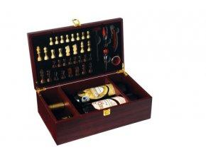 Box na 2 vína mahagon – šachy Z0060