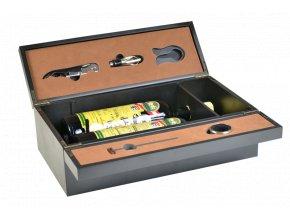 Box na 2 vína černý - 5 pomůcek Z0082