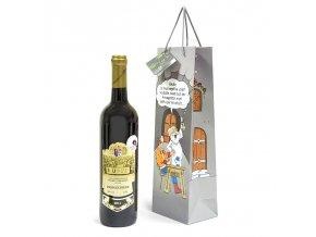 Papírová taška na 1 láhev, kreslená T0046