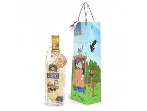 Papírová taška na 1 láhev, kreslená T0048