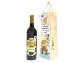 Papírová taška na 1 láhev, kreslená T0049
