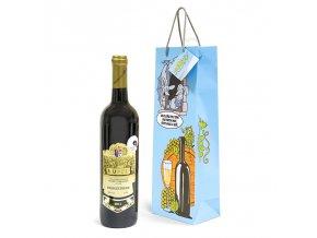 Papírová taška na 1 láhev, kreslená T0050