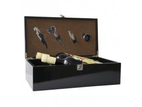 Box na 2 vína černý lesklý - 4 pomůcky Z0087