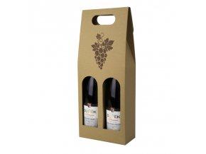 Kartónový box na 2 láhve, přírodní s obrázkem T0112