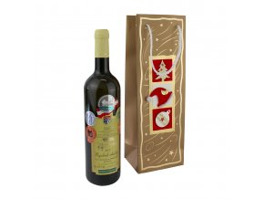 Papírová taška na 1 láhev, vánoční T0206