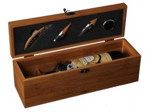 Box na 1 víno bambus - 4 pomůcky Z0072