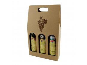 Kartónový box na 3 láhve, přírodní s obrázkem T0113