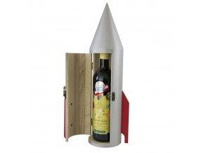 Box na 1 láhev, raketa- dřevěný R0019