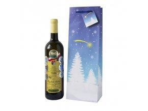 Papírová taška na 1 láhev, vánoční T0078