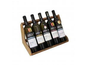 Dřevěný stojan na 5 vín F0029