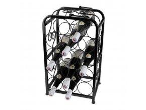 Kovový stojan na 14 vín, černý X0003