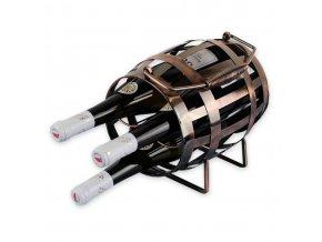 Kovový stojan na 3 vína, soudek X0014