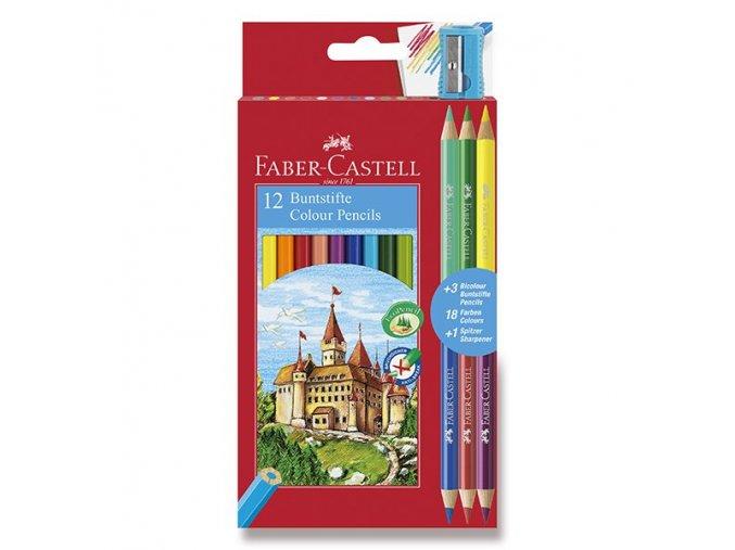 Klasické ECO pastelky - FABER-CASTELL12 barev + 3 ks oboustranných pastelek