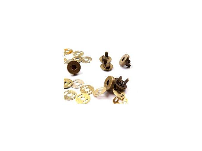 Zapínání magnet pr. 18 mm - staromosaz (5 sad)