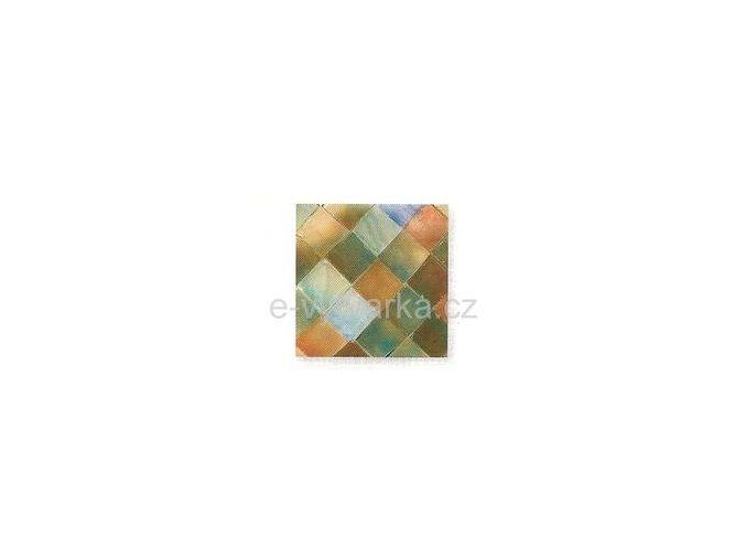 Skleněná mozaika, 35x10 mm (50 ks) - růžová/tyrkysová
