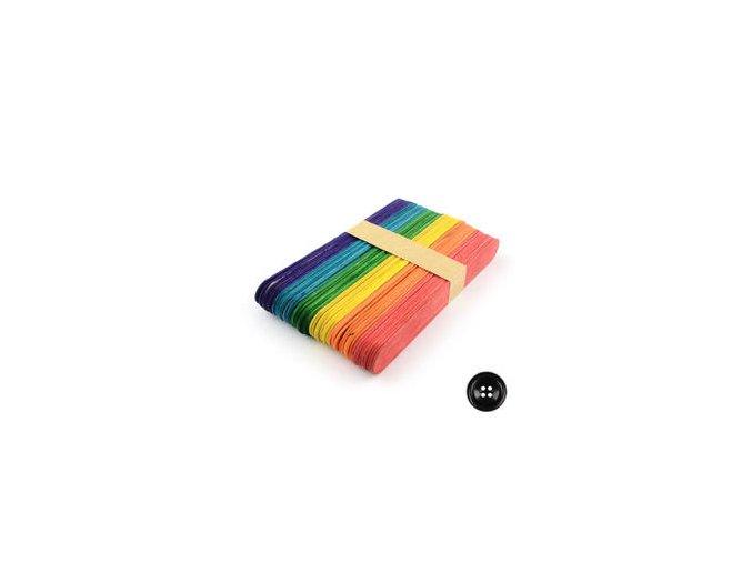 Dřevěné špachtle 15x1,8 cm (50ks) - barevný mix
