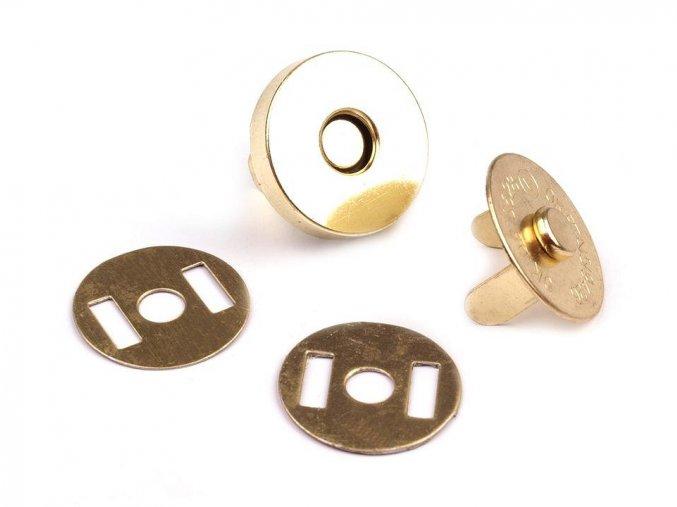 Magnetické zapínání Ø18 mm - zlatá (5 sad)