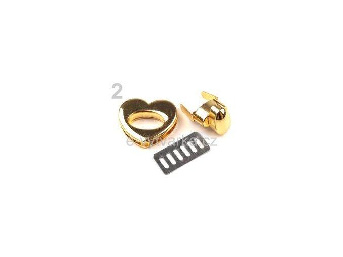 Zapínání na kabelku 27x30 mm otočné - zlatá
