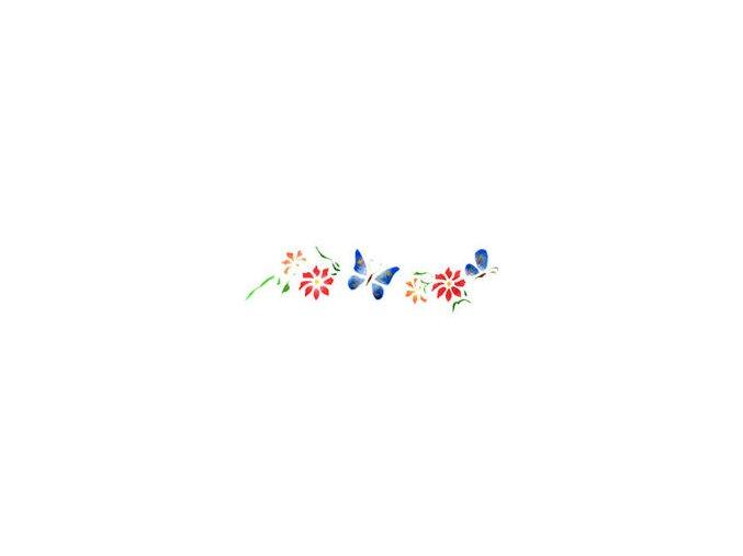 Motivová šablona BRICO Home Design (13x40 cm) - motýli a květy