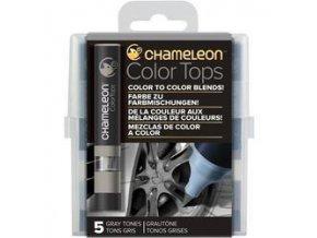 Chameleon Color Tops  - tónovací fixy - Sada Gray Tones - 5KS - barevné nástavce