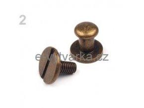 Sedlářský nýt šroubovací pr.6 mm (5 párů) - staromosaz