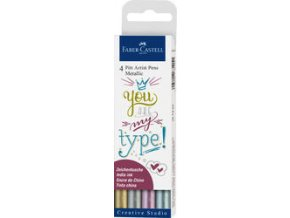 Popisovač PITT artist pen Brush 4ks, metalické barvy