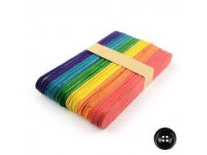 Dřevěné špachtle 11x0,9 cm (50ks) - barevný mix