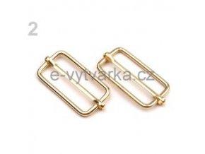 Posunovač na popruhy 15x30 mm (10ks) - zlatá