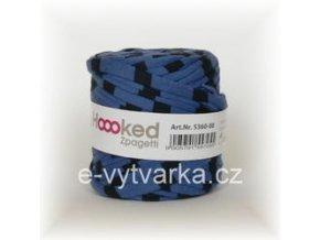 Hoooked Baby Zpagetti - modré+černé pruhy (25 m)