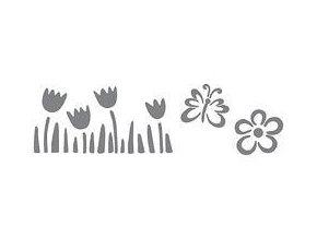 Samolepicí motivová šablona (13x40 cm) - Květinové pole