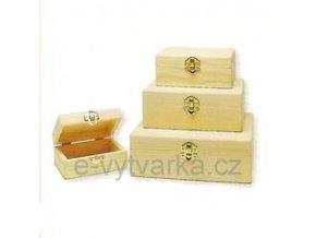 Obdélníková dřevěná krabička s uzávěrem (11 x 8 x 5 cm)