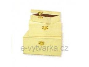 Sada dřevěných krabiček s uzávěrem (3 ks, různé velikosti)