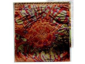 Tepané kovové plátky Home Design ART DECO, květový vzor - červeno-zlatá