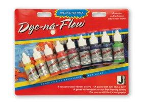 Sada barev na hedvábí a textil Jacquard Dye-Na-Flow (9 ks)