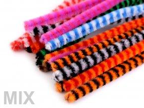 Chlupaté drátky proužkové 6 mm délka cca 30 cm, 100ks - 9 odstínů