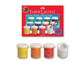 Temperové barvy Faber-Castell Glitter 15ml 12 barev
