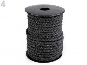 Bavlněná šňůra kroucená Ø6mm (5m) - tmavě šedá