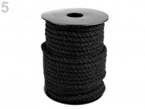 Bavlněná šňůra kroucená Ø6mm (5m) - černá