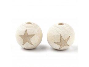 Dřevěné korálky hvězda 20mm (2ks)